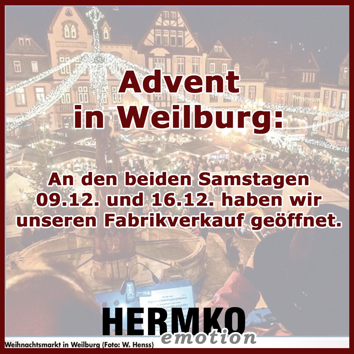 Fabrikverkauf in Weilburg geöffnet an den Adventssamstagen 09.12. und 16.12.2017