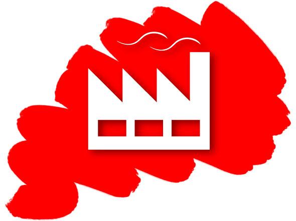 Fabrik Icon auf Roter Farbe