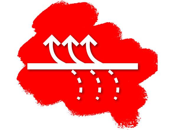 Durchluft Icon auf Roter Farbe